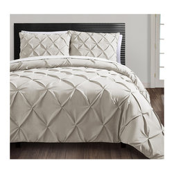 Carmen 3-Piece Duvet Cover Set, Taupe - I bought this for my bedroom on Black Friday and love it! It's similar to West Elm's Pintucked set but more affordable.