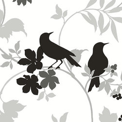 Floral Bird in Grey, White, and Black - BW28712 - Collection:Norwall Black & White 2