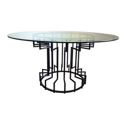 """Pre-owned Gear Steel & Glass Dining Table - Made to order, a steel dining table with a 1/2"""" thick tempered clear glass top and ink transparent powder coated base.      Please note, because this is a made to order piece, there is a 4-6 week lead time."""