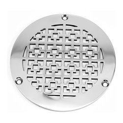 "Designer Drains - Geometric Squares No. 1 Shower Drain, Brushed Stainless Steel - Designer Drains Zurn replacement covers are 5"" (127) Outside Diameter and .140""(.355) thick Stainless Steel. Made to fit Zurn Z400B Type B Round Strainers. Made in the USA. Please measure your drain carefully; not all drains are the same size."