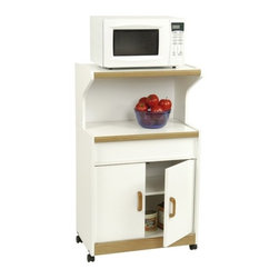 """Ameriwood - Carina Microwave Cart - Features: -Large storage area behind double doors.-Solid wood handles.-Easy-roll casters for mobility.-Fiberboard construction.-Attractive white finish with oak trim complements any decor.-Product Type: Kitchen cart.-Collection: Good to GO.-Base Finish: White.-Counter Finish: White.-Distressed: No.-Powder Coated Finish: No.-Gloss Finish: Yes.-Base Material: Particle board.-Counter Material: Particle board.-Hardware Material: Wood Handles, hinges are steel, wheels are plastic, screws are steel.-Solid Wood Construction: No.-Water Resistant or Waterproof Cushions: Not water resistant.-Stain Resistant: No.-Warp Resistant: Yes.-Exterior Shelves: Yes -Number of Exterior Shelves: 1.-Adjustable Exterior Shelving: No..-Drawers Included: No.-Cabinets Included: Yes -Number of Cabinets : 1.-Double Sided Cabinet: No.-Number of Interior Shelves: 2.-Adjustable Interior Shelves: Yes.-Number of Doors: 2.-Magnetic Door Catches: Yes.-Locking Doors: No.-Door Handle Design: Wood handles..-Number of Baskets: 0.-Towel Rack: No.-Pot Rack: No.-Spice Rack: No.-Cutting Board: No.-Drop Leaf: No.-Drain Groove: No.-Trash Bin Compartment: No.-Stools Included: No.-Casters: Yes -Locking Casters: No.-Removable Casters: Yes..-Wine Rack: No.-Stemware Rack: No.-Cart Handles: No.-Finished Back: No.-Weight Capacity: 105 lbs.-Shelf Weight Capacity (Table Top) : 35 lbs.-Shelf Weight Capacity (Open Shelf) : 10 lbs.-Shelf Weight Capacity (Interior Adjustable Shelf ) : 25 lbs.-Shelf Weight Capacity (Interior Bottom Shelf ) : 35 lbs.-Swatch Available: No.-Commercial Use: No.-Recycled Content: No.-Eco-Friendly: No.-Product Care: Wipe with dry cloth.-Country of Manufacture: United States.Specifications: -ISTA 3A Certified: Yes.Dimensions: -Overall Height - Top to Bottom: 42.37"""".-Overall Width - Side to Side: 24.87"""".-Overall Depth - Front to Back: 15.5"""".-Width Without Side Attachments: 24.87"""".-Height Without Casters: 40.47"""".-Countertop Thickness: 0.629"""".-Countertop Width - Side"""
