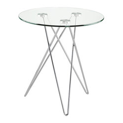 Zoey Side Table-Clr/Chr - This chic modern side table is handsome indeed. Gleaming in glass and chromed steel with alluring intertwined legs, what could look smarter alongside your sofa?