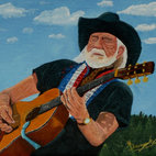 Willy - Blue skies smiling at you ... nothing but blue skies from now on. Artist Anthony Dunphy captures music icon Willie Nelson playing his legendary guitar with a backdrop that'll have you whistling his famous song.