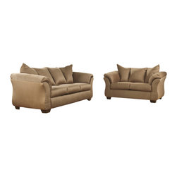 Signature by Ashley - Darcy Living Room Set in Mocha Fabric - Sofa and Loveseat Set. Contemporary Design. Plush Upholstered Arms. Mocha Fabric Upholstery. Pillow Back Cushions. Fixed Back. Loose Seat Cushions. CA117 Fire Retardant Foam. Black Bottom Dust Cover. Plastic Triblock Feet. Durable Frame Construction. Seat and Back Spring Rails cut from .875 in.  Thick Hardwood. Corners are Glued, Blocked and Stapled. Upholstery pre-approved for wearability and durability against AHFA Standards. Cushion core constructed of low melt fiber wrapped over high quality foam. 100% Polyester. Spot clean with water based cleaner. Loveseat: 67 in. W x 39 in. D x 40 in. H. Sofa: 90 in. W x 39 in. D x 40 in. H.