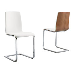 DomItalia Furniture - Juliet-SL Dining Chair in Walnut / White (Set of 2) - This stunning Dining Chair (Set of 2) is a big statement made with the simple combination of a few basic elements. A chromed metal or satinated aluminum frame supports this piece, while a multilayer wood seat in walnut / white will provide comfort and aesthetic perfection.