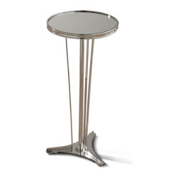 Kathy Kuo Home - Monaco French Art Deco Regency Style Polished Silver Drink End Table - A slim side table is a stylish solution for smaller spaces. This piece combines French, modern and art deco for a result that makes a grand statement in an intimate space. Delicate, polished nickel legs rise to support a round, mirrored tabletop that holds drinks, snacks and other treasures.
