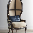 "Massoud - Massoud ""Blue Ming"" Balloon Chair - The classic balloon chair takes on Asian flair with gorgeous chinoiserie upholstery. Birch frame. Linen/rayon and cotton upholstery. Finished back. 31""W x 30""D x 67""T; seat, 20""T; arms, 25""T. Made in the USA of imported material. Boxed weight, app..."