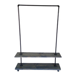 Urban Industrial Garment Rack with Gray Washed Bottom Shelf - This garment rack is built from recycled iron piping and reclaimed wood. It will add a touch of class to a loft, office, rustic style home decor or an industrial space.