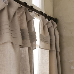 """Pine Cone Hill - Pine Cone Hill 108""""L Pleated-Top Curtain - Rod-pocket curtain. Attached, 15""""L pleated-top valance. Made of linen. Machine wash. 42""""W x 108""""L. Imported."""