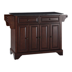 Crosley - LaFayette Solid Black Granite Top Kitchen Island in Vintage Mahogany Finish - Constructed of Solid Hardwood and wood veneers, this kitchen island is designed for longevity. The Beautiful raised panel doors and drawer fronts provide the ultimate in style to dress up your kitchen. Two deep drawers are great for anything from utensils to storage containers. Behind the four doors, you will find adjustable shelves and an abundance of storage space for things that you prefer to be out of sight. Style, function, and quality make this kitchen island a wise addition to your home.
