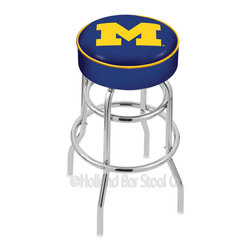 "Holland Bar Stool - Holland Bar Stool L7C1 - 4 Inch Michigan Cushion Seat - L7C1 - 4 Inch Michigan Cushion Seat w/ Double-Ring Chrome Base Swivel Bar Stool belongs to College Collection by Holland Bar Stool Made for the ultimate sports fan, impress your buddies with this knockout from Holland Bar Stool. This L7C1 retro style logo stool has a 4"" cushion with a tough double-ring base and a chrome finish. Holland Bar Stool uses a detailed screen print process that applies specially formulated epoxy-vinyl ink in numerous stages to produce a sharp, crisp, clear image of your desired logo. You can't find a higher quality logo stool on the market. The structure is triple chrome-plated to ensure a rich, polished finish that will last ages. If you're going to finish your bar or game room, do it right- with a Holland Bar Stool. Barstool (1)"