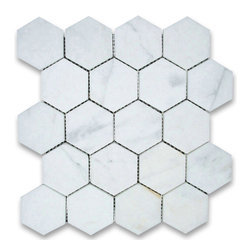 "Stone Center Corp - Calacatta Gold Marble Hexagon Mosaic Tile 3 inch Honed - Calacatta gold marble 3"" (from point to point) hexagon pieces mounted on a sturdy mesh tile sheet"