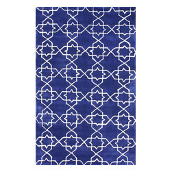 "nuLOOM - Contemporary 7' 6"" x 9' 6"" Royal Blue Hand Tufted Area Rug Trellis ACR195 - Made from the finest materials in the world and with the uttermost care, our rugs are a great addition to your home."
