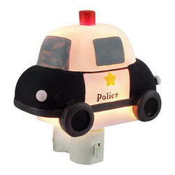 Children`s Police Car Night Light Nite Lite - This black and white police car night light adds a decoraative accent to your child`s room while illuminating the night hours to deter the bad guys. Made of cold cast resin, it measures 5 inches long, 4 1/2 inches tall, and 2 inches deep. It has a 360 degree swivel plug to accommodate any outlet, and it uses a 7 watt (max) type C night light style bulb (included). The light has an on/off switch on the front, and is recommended for children ages 6 and up.
