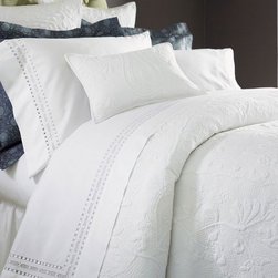 Adrien Bedding by Sferra - Crisp, clean and yet versatile, white bedding is a fantastic choice for a bedroom. And it can adapt to lots of changes.