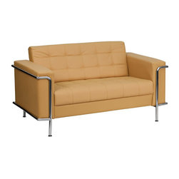 Flash Furniture - Hercules Lesley Series Contemporary Light Brown Leather Love Seat - This attractive light brown leather reception love seat will complete your upscale reception area. The design of this love seat allows it to adapt in a multitude of environments with its tufted cushions and visible accent stainless steel frame.