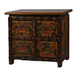 Antique Revival - Tibetan Accent Side Cabinet - A small distinct sideboard cabinet, with two sets of doors, one on top and bottom. Finished in a Tibetan-style paint, this unique cabinet is great for bringing some flair into your home. Whether sitting on top of a console table, or on a buffet table, this piece will look magnificent wherever it is.
