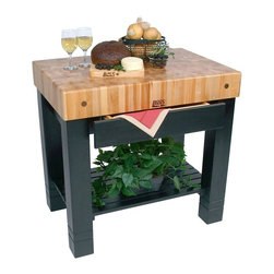 John Boos - Cherry Top Table w Black Painted Base - Modern-looking John Boos island table is a practical and stylish addition to your kitchen.  Solid natural cherry top table features thick sturdy square legs and classic two-tone finish.  Counter height makes it perfect for food prep, with handy storage drawer and shelf below. Includes apron drawer. Slatted lower shelf. 5 in. Thick end grain cherry top. Varnique finish. 24 in. L x 5 in. W x 36 in. H (233 lbs.)