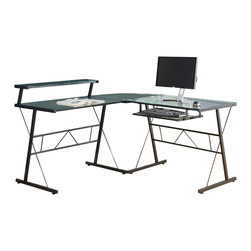 Monarch Specialties - Monarch Specialties L-Shaped Computer Desk in Black with Tempered Glass - This stylish L shaped desk will be a lovely addition to your home office. This piece is made up of two table desks and a corner wedge, with arched black metal legs, and sophisticated tempered glass tops. A roll out keyboard drawer below makes computer use simple and this unit's generous size will accommodate your computer, printer, and other essentials in your home office. What's included: Computer Desk (1).