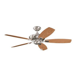 "Kichler - 52"" Canfield 52"" Ceiling Fan Brushed Stainless Steel - Kichler 52"" Canfield Model KL-300117BSS in Brushed Stainless Steel with Reversible Light Oak/Medium Oak Finished Blades."
