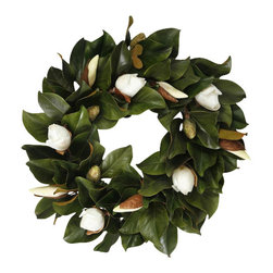 Jane Seymour Botanicals - Wreath Magnolia Bud, White - Capture the magic of about-to-bloom magnolias — forever. This lovely wreath of remarkably realistic leaves and pure white buds can adorn your home for as long as you like.