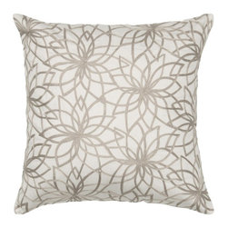 Rizzy Home - Rizzy Home Beige & Soft Gray Embroidered Decorative Throw Pillow Multicolor - T0 - Shop for Pillowcases and Shams from Hayneedle.com! The Rizzy Home Beige & Soft Gray Embroidered Decorative Throw Pillow is made of beige cotton satin for a soft hand and sophisticated look. It's accented with a detailed flower pattern in gray embroidery. A hidden zipper and removable polyester insert make it handy. Machine wash the cover in cold water and lay it flat to dry.About Rizzy HomeRizwan Ansari and his brother Shamsu come from a family of rug artisans in India. Their design color and production skills have been passed from generation to generation. Known for meticulously crafted handmade wool rugs and quality textiles the Ansari family has built a flourishing home-fashion business from state-of-the-art facilities in India. In 2007 they established a rug-and-textiles distribution center in Calhoun Georgia. With more than 100 000 square feet of warehouse space the U.S. facility allows the company to further build on its reputation for excellence artistry and innovation. Their products include a wide selection of handmade and machine-made rugs as well as designer bed linens duvet sets quilts decorative pillows table linens and more. The family business prides itself on outstanding customer service a variety of price points and an array of designs and weaving techniques.