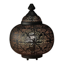 "Artemano - Oriental Pierced Metal Table Lamp, 13"" X 13"" X 17"" - Place this perforated metal lamp on a table or shelf and watch the light dance on the walls throughout the room. Handcrafted of iron, this lantern-shaped table lamp emits a soft, warm glow that creates the perfect amount of ambient lighting in any space.  Set a romantic tone in your bedroom, dining room or living space with the help of this modern oriental table lamp. Black on the outside with a gold interior."