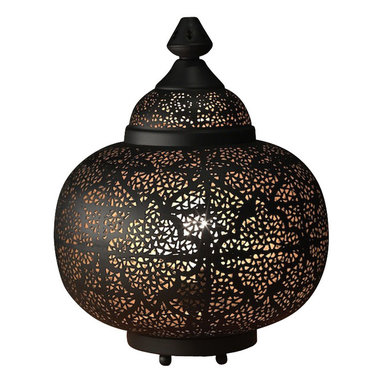 """Artemano - Oriental Pierced Metal Table Lamp, 13"""" X 13"""" X 17"""" - Place this perforated metal lamp on a table or shelf and watch the light dance on the walls throughout the room. Handcrafted of iron, this lantern-shaped table lamp emits a soft, warm glow that creates the perfect amount of ambient lighting in any space.  Set a romantic tone in your bedroom, dining room or living space with the help of this modern oriental table lamp. Black on the outside with a gold interior."""