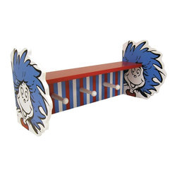 Trend Lab - Trend Lab Dr. Seuss Thing 1 and Thing 2 Shelf with Pegs - 30459 - Shop for Wall Hooks Racks and Shelves from Hayneedle.com! Organize your child's room while adding a touch of fun with the Trend Lab 30459 Dr. Seuss Thing 1 and Thing 2 Shelf with Pegs. Featuring Thing 1 and Thing 2 this fun and brightly colored shelf has three pegs for coats clothes hats and more and is a great addition to your child's room.About Trend LabFormed in 2001 in Minnesota Trend Lab is a privately held company proudly owned by women. Rapid growth in the past five years has put Trend Lab products on the shelves of major retailers and the company continues to develop thoroughly tested high-quality baby and children's bedding decor and other items. Trend Lab continues to inspire and provide its customers with stylish products for little ones. From bedding to cribs and everything in between Trend Lab is the right choice for your children.