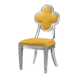 Sterling Industries - Sterling Industries 136-008 Petal Back Dining Chairs in Yellow - Made From Plantation Grown Hardwoods This Petal Backed Accent Chair Is Finished In Silver Leaf And The Bright Chenile Fabric Adds A Pop Of Color To Any Setting. Sturdy Enough To Be Used In Commercial Settings.