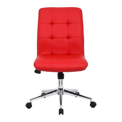 Boss Modern Ergonomic Office Chair, Red - This red chair will give some pizzazz to the home office and can be scooted all the way underneath the desk because it doesn't have arms. It also has a lever for adjusting the height.