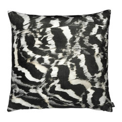 By Nord Copenhagen - Printed Feather B/W Decorative Pillow - A beautiful close-up of a bird's white/black feathers adds a striking and graphic contrast to modern or transitional interiors. Printed as a digital photo print in the recognized cotton velvet quality from Danish firm By Nord.  Imported from Denmark.