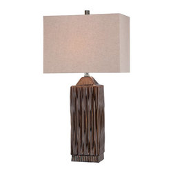 Lite Source - Lite Source Ashby Transitional Table Lamp XSL-91612 - The elongated rectangular body comes with a Brown & Verde Dripped Glaze finish that creates visual interest and texture on the ceramic body of this Lite Source table lamp. From the Ashby Collection, this transitional table lamp comes with a linen fabric shade with a rectangular shape pulls the look together.