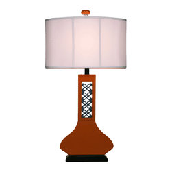 Bungalow Belt - Hookah Lamp - Modern meets Moroccan in this hookah lamp. Add a playful air to any room in your house with this engineered wood lamp that's finished in a glossy copper tone. An oval, off-white fabric shade and copper-colored finial top it off.