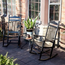 "Pair of Dixie Seating Indoor/Outdoor Spindle Rocking Chairs - Black - The only thing better than our classic black Dixie Rocking Chair is having two of them! You'll save money by buying the pair and what a perfect look for your outdoor porch or any room in your home. The Dixie Outdoor Black Spindle Rocker is the fine result of quality American craftsmanship. The protective black finish is designed to withstand the elements and add a touch of modern style to its surroundings. Suitable for use indoors or outdoors this rocker will make hours on the porch even more pleasant and nap time in the nursery more comfortable. It's also equally at home in the living room where it will provide a timeless familiar piece of Americana.Crafted from durable ash wood right here in the USA this black spindle-back rocker offers quality you can trust. Its armrests and contoured seat will provide ergonomic comfort as you sit back and enjoy a well-deserved moment of respite. An exclusive rocking chair seat pad designed to fit this rocker is available for added comfort. Each rocker measures 30W x 25.75D x 43H inches and the seat measures 20W x 18.75D inches. A beautiful set for your home.Easy AssemblyThis rocker ships flat with some assembly required. We recommend a preliminary assembly without gluing to be sure you have all pieces in the correct position. All necessary hardware is included. Assembly takes approximately 30 minutes.About Dixie SeatingIn business since the early 1900s Dixie Seating Company is a premier manufacturer of solid hardwood ladder back chairs rockers stools and children's furniture. They offer classic comfortable colorful furniture with American-made craftsmanship solid wood construction and affordability. Serving both the residential and commercial markets Dixie is the largest domestic manufacturer of round posted seating products.All of Dixie Seating's products are manufactured from select grade North American Ash hardwood. Their unique construction techniques use no glue but rather a combination of precisely machined components multiple pressure clamping interlocking wood-to-wood joints and a ""swelled joint"" construction. They use metal fasteners at each joinery to ensure long-lasting strength and years of enjoyment for you and your family. While their techniques are old fashioned and follow the guidelines of traditional hand-built-quality wood working Dixie Seating products are designed for today's lifestyles."