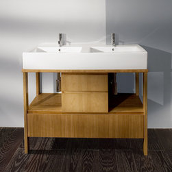 "Lacava Aquamedia 42 1/2"" Double Bowl Vanity - This 42 1/2"" vanity is the smallest vanity you can most likely get with 2 sinks - and there's even a bit of storage! I love the open and closed design with this freestanding style vanity. Also comes in white."