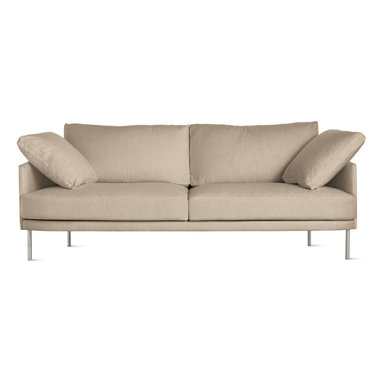 """Camber 81"""" Sofa in Fabric, Stainless Legs - We're very excited to bring you the latest sofa collection from Bernett and Dodziuk, two designers we've worked with since DWR was founded. Hand-built by a California-based manufacturer that's been making comfortable sofas and chairs for more than 50 years, the Camber Sofa Collection (2013) satisfies the designers' goal to find """"the best size and scale for products to maximize living, while refraining from dominating a room,"""" explains Bernett. The result is extreme comfort within slender proportions. Covers are removable for cleaning. Legs ship unattached; simple assembly required. Made in U.S.A."""