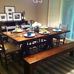 7ft Trestle Dining Table - 7ft trestle dining table in all dark walnut stain. Built by hand from solid wood.