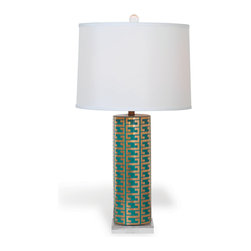 Port 68 - Cameron Lamp, Peacock - Showcasing a modern interpretation of the classic Greek key pattern in gold, the Cameron Lamp in peacock is a vibrant and elegant way to brighten a living room or bedroom. The porcelain cylinder lamp in peacock tones features a square lucite base, crystal ball finial, brass hardware and white shade. Clear cord. 150 watt maximum, 3-way switch.  UL Listed.