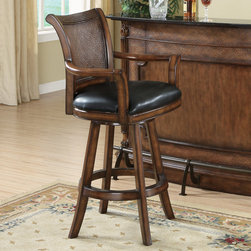 Coaster - Clarendon Barstool in Brown - Matching bar stool for Model No. 100173. It features faux wicker design with a leather seat.