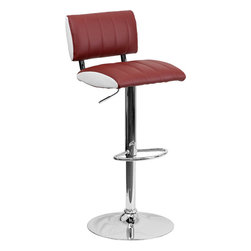 """Flash Furniture - Two Tone Burgundy & White Vinyl Adjustable Height Bar Stool with Chrome Base - This designer chair will make an attractive statement in the home. The white contrast side upholstery provides a very appealing look. The height adjustable swivel seat adjusts from counter to bar height with the handle located below the seat. The base and footrest have a chrome finish to complement the chair's modern design. Counter Height or Bar Stool; Burgundy Vinyl Upholstery; White Vinyl Contrasting Sides; Vertical Line Design Upholstery; Comfortable Seat with Low Back; Swivel Seat; Height Adjustable Seat with Gas Lift; Foot Rest; Chrome Base; Base Diameter: 17.625""""; CA117 Fire Retardant Foam; Designed for Residential Use; Overall dimensions: 16.5""""W x 19.5""""D x 34"""" - 42.5""""H"""