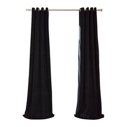 Exclusive Fabrics & Furnishings, LLC - Signature Warm Black Grommet Blackout Velvet Curtain - 100% Poly Velvet. Grommet. Plush Blackout Lining . Imported. Dry Clean Only.