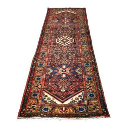 "Vintage Kelleghi Hand-Knotted Rug Runner - This is a beautiful hand-knotted carpet. Chocolate brown with red, white, royal blue and turquoise accent colors. This Persian rug is estimated to be from the 1950's to 1970's. Handmade and vintage means it has some minor imperfections.  Measures 3' 3/4"" x 9'11"" Note from the Seller: ""We bought it to go in our kitchen and it just wasn't right for the room. We're so sad to see it go because we'd love to keep it!"""
