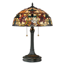 Quoizel - Quoizel TF878T Kami Tiffany Table Lamp - This lovely Tiffany style collection features a handcrafted, genuine art glass shade created in hues of amber, caramel, ginger and emerald. The glass is arranged in a classic Art Nouveau pattern.  The warm color palette creates a harmonious balance of light, and the complementary base is finished in a vintage bronze.