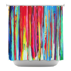 DiaNoche Designs - Shower Curtain Artistic - Neon Abstract - DiaNoche Designs works with artists from around the world to bring unique, artistic products to decorate all aspects of your home.  Our designer Shower Curtains will be the talk of every guest to visit your bathroom!  Our Shower Curtains have Sewn reinforced holes for curtain rings, Shower Curtain Rings Not Included.  Dye Sublimation printing adheres the ink to the material for long life and durability. Machine Wash upon arrival for maximum softness on cold and dry low.  Printed in USA.