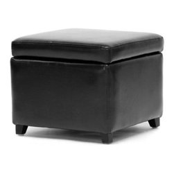 Baxton Studio Pisanio Square Leather Storage Ottoman - The Baxton Studios Pisanio Square Leather Storage Ottoman provides concealed storage for items like remotes and reading material without taking up a lot of floor space. Add it to your living room bedroom home office or rec room for extra seating a footrest storage or even a side table. Durably constructed with a kiln-dried hardwood frame and solid rubberwood legs this square storage ottoman features a hinged lid for easy opening and closing. High-density foam padding offers comfort while the bi-cast leather upholstery is durable smooth and easy to clean. About Baxton StudiosThis item is designed and manufactured by Wholesale Interiors Inc. a furniture company based near Chicago. A lot goes into the making of furniture and it all starts with attention to details. They hand select their unique line of leather and micro-fiber fabrics. Their furniture is padded with high polyurethane foam to create the body contouring comfort and support for which Baxton Studios is famous. All frames are constructed of high quality wood or steel on select models providing sturdy frame construction that exceeds industry standards. Wholesale Interiors Inc. is committed to constantly providing stylish and unique furniture for the best value to help you create a comfortable living space with ease and confidence.