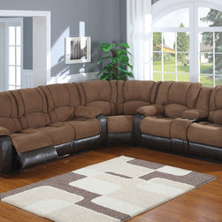 AC Pacific Tuft Mocha Polyester Suede Reclining Sectional Sofa Console - This comfortable padded sued set will turn your living room into a luxurious place to kick back and watch a movie or visit with friends. It consist of a Power double reclining sofa and a Power reclining loveseat with a matching wedge.