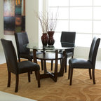 """Standard Furniture - Apollo 5 Piece Dining Set - The dynamic styling of Apollo Casual Dining has an upscale modern attitude that?s perfect for today?s high energy metropolitan lifestyle. Features: -Set includes round dining table and 4 dining chairs. -Apollo collection. -Rich Merlot finish. -Select solid wood construction. -Veneer application. -Contains some plastic parts. -Table top construction: Beveled glass. -Round table. -Crisscrossed legs along with center shelf on table adds stability and style. -A free floating 8mm clear glass top with beveled edge rests on the leg endsand gives this grouping a clean and lean modern profile. -Circular metal leg stretchers are finished in a bright electroplated nickel color and add a gleaming accent as well as structural stability this high style group. -Upholstered Chairs and Stools have cushioned seats and backs in a dark brown PVC faux leather fabric with accent topstitching. -Care: Surfaces clean easily with a soft cloth. -General conformity certified. -Manufacturer provides 1 year warranty. Dimensions: -Dining Table: 30"""" H x 48"""" W x 48"""" D. -Dining Chair: 38"""" H x 19"""" W x 21"""" D."""