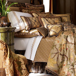 Sweet Dreams - Golden Pheasant Bed Linens  - Wake up to sunshine everyday when nights are spent under the shimmer of Golden Pheasant Bed Linens.  The duvet cover is rich with the golden/brown/yellow pheasant and floral design of woven silk.