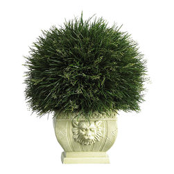 Nearly Natural - Potted Grass with White Vase (Indoor/Outdoor) - A favorite among Japanese gardeners, this lively Acorus grass makes an excellent choice for a topiary display. Wispy vividly colored green stalks sprout forth from every direction. Although shaped in a traditional ball design, this wild topiary is anything but ordinary. Over 18 inches high, it makes a nice addition to an indoor or outdoor patio or sunroom. A unique ornamental vase further compliments this plant's whimsical appeal.